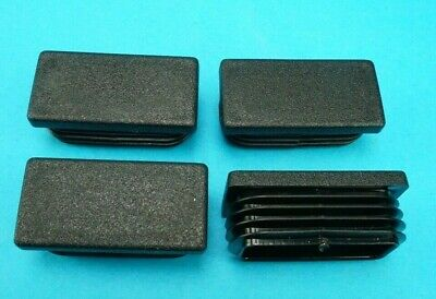4 x Plastic End Caps 50mm x 25mm Rectangle Oblong Ribbed Tube Inserts