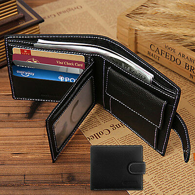 Black Mens Luxury Soft Business Leather Bifold Wallet Credit Card Holder Purse