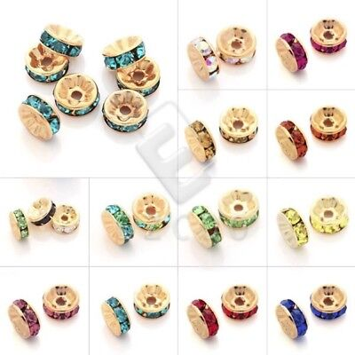 20pcs Crystal Spacer Beads Gold Plated Rhinestone Beads Jewelry Making