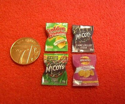 Dolls House Miniature 4 Mixed Packets of Crisps A8