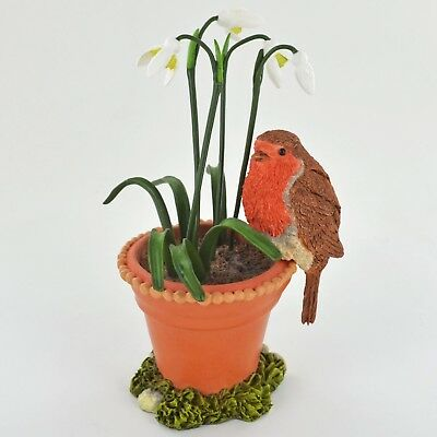 Robin And Snowdrops Animal Figurine Farm Garden Gift NEW Bird Hand Painted 04052