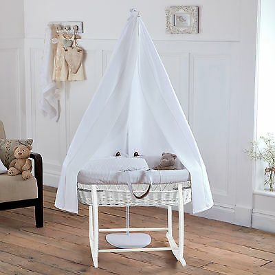 New Clair De Lune White Waffle White Wicker Moses Basket With Stand & Drape Set