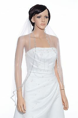 1 Layer Bridal White / Ivory Fingertip Pearls Sequin Silver Beaded Wedding Veil