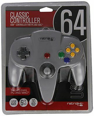 Grey Nintendo N64 USB Wired Controller for PC/MAC Retro-Link
