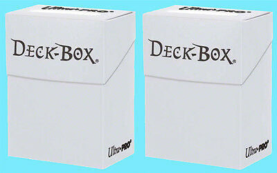2 Ultra Pro WHITE DECK BOXES Standard & Small Size Card Holder Storage Box Case