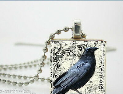 HANDMADE RAVEN RESIN & SCRABBLE TILE PENDANT WITH CHAIN Wicca Witch Pagan Goth