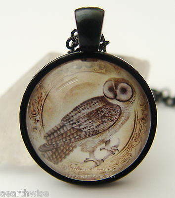 HANDMADE GLASS OWL PHOTO PENDANT WITH CHAIN Wicca Witch Pagan Goth