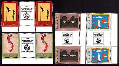 DREAMINGS 1993 INT'L YEAR OF INDIGENOUS PEOPLE gutter pairs MNH • FREE POST