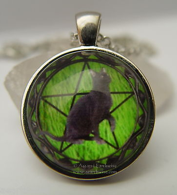 HANDMADE GLASS BLACK CAT PENTACLE PENDANT WITH CHAIN Wicca Witch Pagan Goth