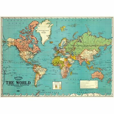 Cavallini World Map Wrapping Paper / Poster High Quality / Decoupage