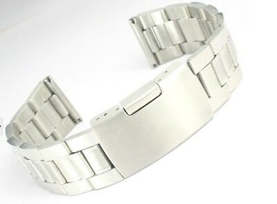 Silver Stainless Steel Watch Band Strap Straight End Bracelet Links 18/20/22mm
