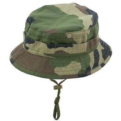 GI RipStop Military Army Jungle Special Forces Short Brim Bush Hat Woodland Camo