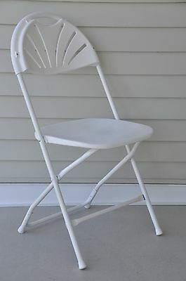 Chairs Folding 8 White Plastic Fan Back Commercial Chair FREE SHIPPING