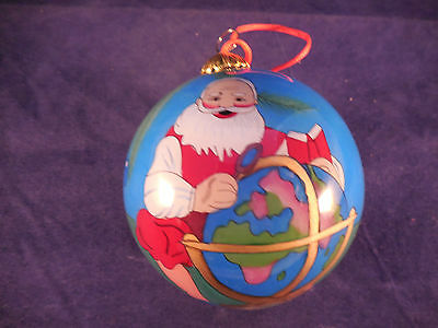 Le Bien Glass Christmas ornament Santa with globe 3""