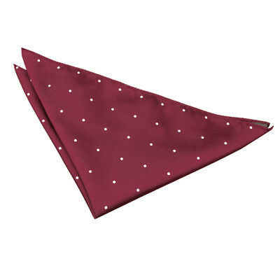 DQT Woven Pin Dot Dotted Burgundy Formal Handkerchief Hanky Pocket Square