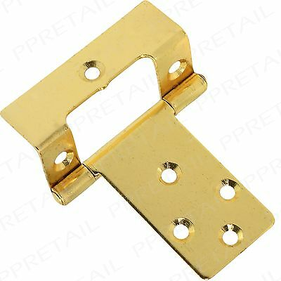 "2 x Large Brass Cranked 50mm / 2"" Flush Hinges Pair Offset Cabinet/Cupboard Door"