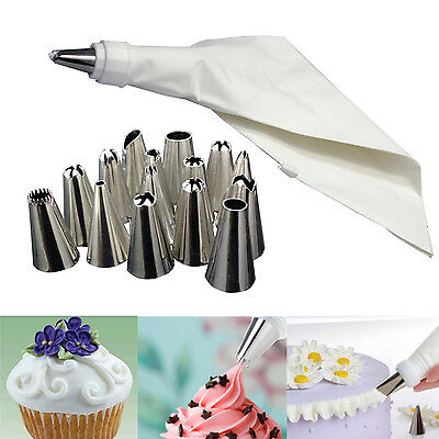 16 Icing Piping Cake Cupcake Decorating Cotton Bag & Nozzle Set Sugarcraft Cup
