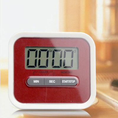Magnetic Digital Lcd Kitchen Timer Egg Cooking Chef Fridge Count Up Down Red