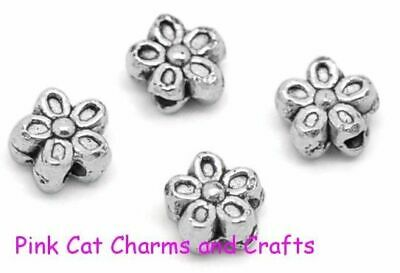 50 x FLOWER SPACER 7mm Tibetan Silver Beads Findings
