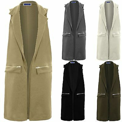 Womens Casual Sleeveless Long Tailored Zipper Waistcoat Tuxedo Duster Jacket