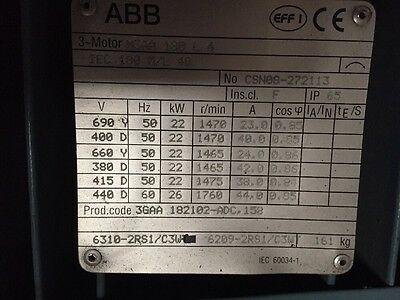 ABB 22kW (30HP) 1475RPM 4-Pole Electric Motor B3 Foot 180 Frame 3-Phase