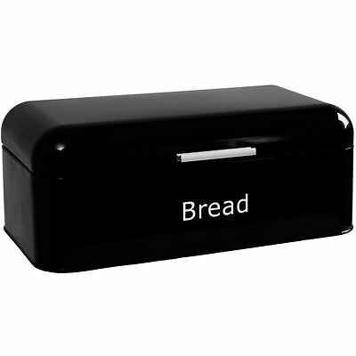 Curved Bread Bin Black Steel Kitchen Top Storage Loaf Box New By Home Discount