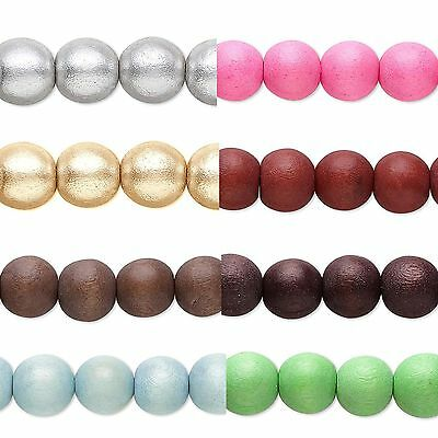 10 Big Colored 10mm Round Wooden South Sea Smooth Wood Loose Beads