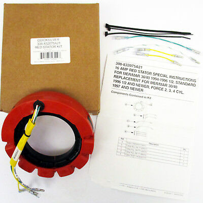 Mercury/Mariner/Force New OEM Red Stator 16 amp Magneto 398-832075A21, 832075A4