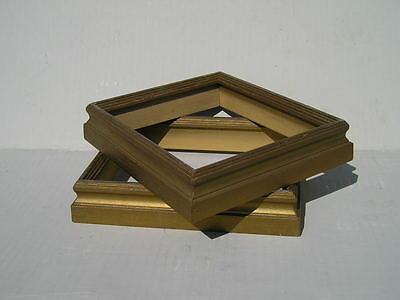 Pair Small Vintage Aged Gold Painted Wood Picture Frames 4 7/8 x 5 7/8