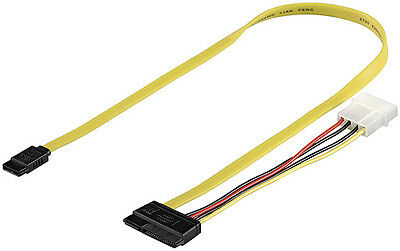 HDD S-ATA Kabel 1.5GBits / 3GBits / 6GBits, SATA 2in1 Datensignal+Stromadapter