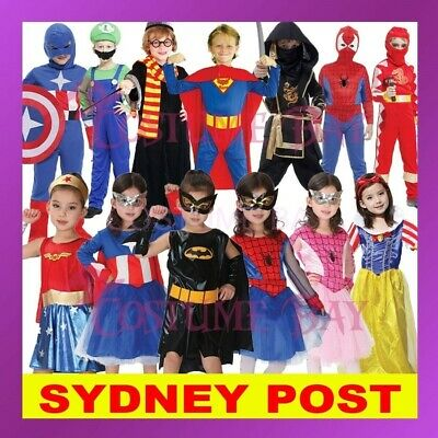 Kids Boys Girls Superhero Batman Spiderman Supergirl Halloween Book Week Costume