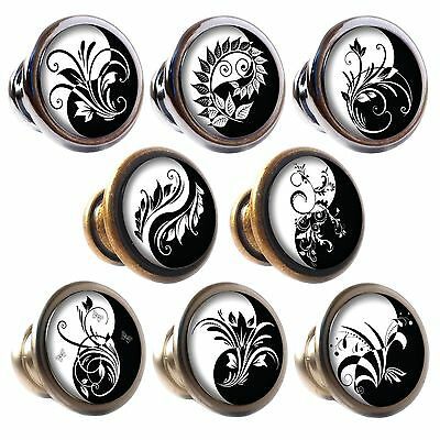 Zinc Alloy Knobs Yin and Yang 30mm Cupboard Drawer Door Handles Decorated