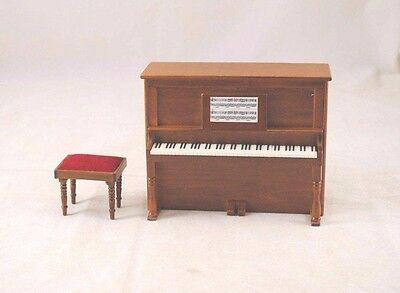 Upright Piano w/ Bench D7081A  miniature dollhouse furniture wooden 1-12 scale