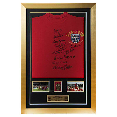 Signed by 10 Charlton Hurst & Ball 1966 England Shirt-1966 World Cup Final Medal