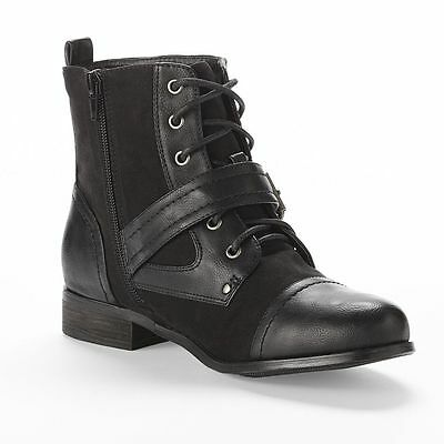 CHAPS Gari Womens Shoes Mid Shaft Boots with Fashion Buckle Strap Black Zip NEW
