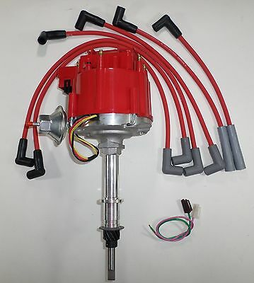 CHEVY Inline 6 Straight 6 194-230-250-292 HEI Distributor & RED Spark Plug Wires