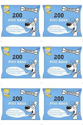 1200 DOGGY BAGS Scented Pet Pooper Scooper Dog Cat Poo Waste Toilet Poop (6X200)
