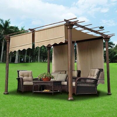 2pcs 15.5x4Ft Pergola Canopy Replacement Cover Tan UV30+ 200g w/ Valance