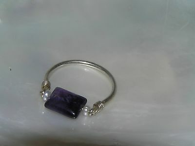 Estate Silver Tubular Band with Spinning Pillow Amethyst Stone Ring Size 7.5 –