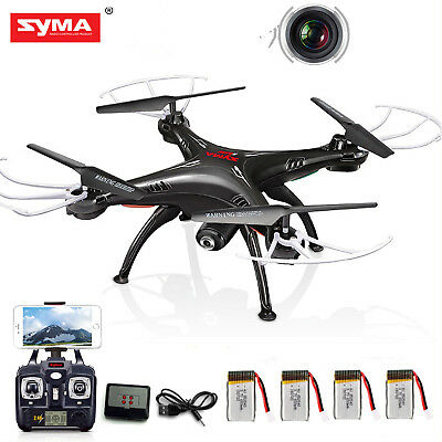 Syma X5SW Wifi FPV 2.4G 4CH RC Quadcopter Drone HD Camera+4 Batteries+Charger
