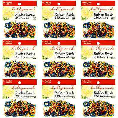 Hair Rubber Bands 2250 pcs (9 x 250/bag) Hollywood Brand Multi Color _61-021x9