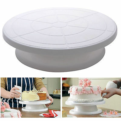 Kitchen Cake Decorating Icing Rotating Turntable Cake Stand White Plastic 28cm