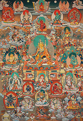 "Blessed 26""tibetan Fortune Luck Thangka :padmasambhava & All Fortune God Goddess"