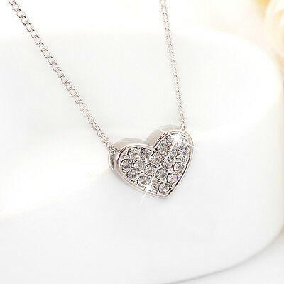 New 18K White Gold Filled Simple Cute Heart SWAROVSKI Crystal Pendant Necklace