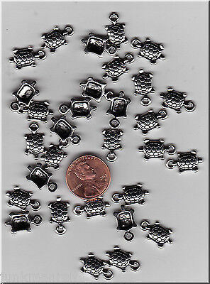 Lot Of 47 Metal Silver Tone Turtles Charms,  C7 - From Junkmanralf  U.s. Seller.