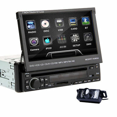 "HQ Cam+Detachable 7"" Single Din Car DVD Stereo CD Player Radio Bluetooth iPod"