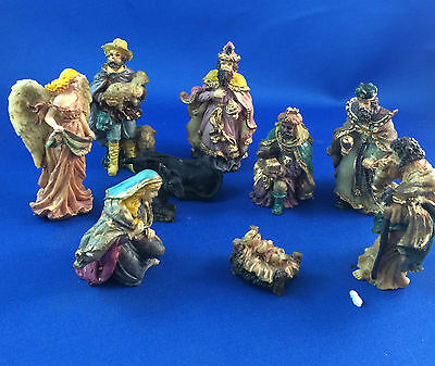 Nativity set christmas collectable resin 10 piece collection baby jesus scene