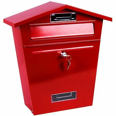 Steel Post Box Red Mailbox Lockable Letter Mail Wall Mounted By Home Discount