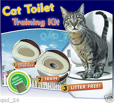 Cat Toilet Training Seat Litter Tray Kit Potty Train System Pet Kitty + Cat Nip