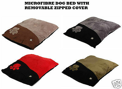 Microfibre Soft Dog Puppy Cushion Bed With Removable Zipped Cover Extra Large